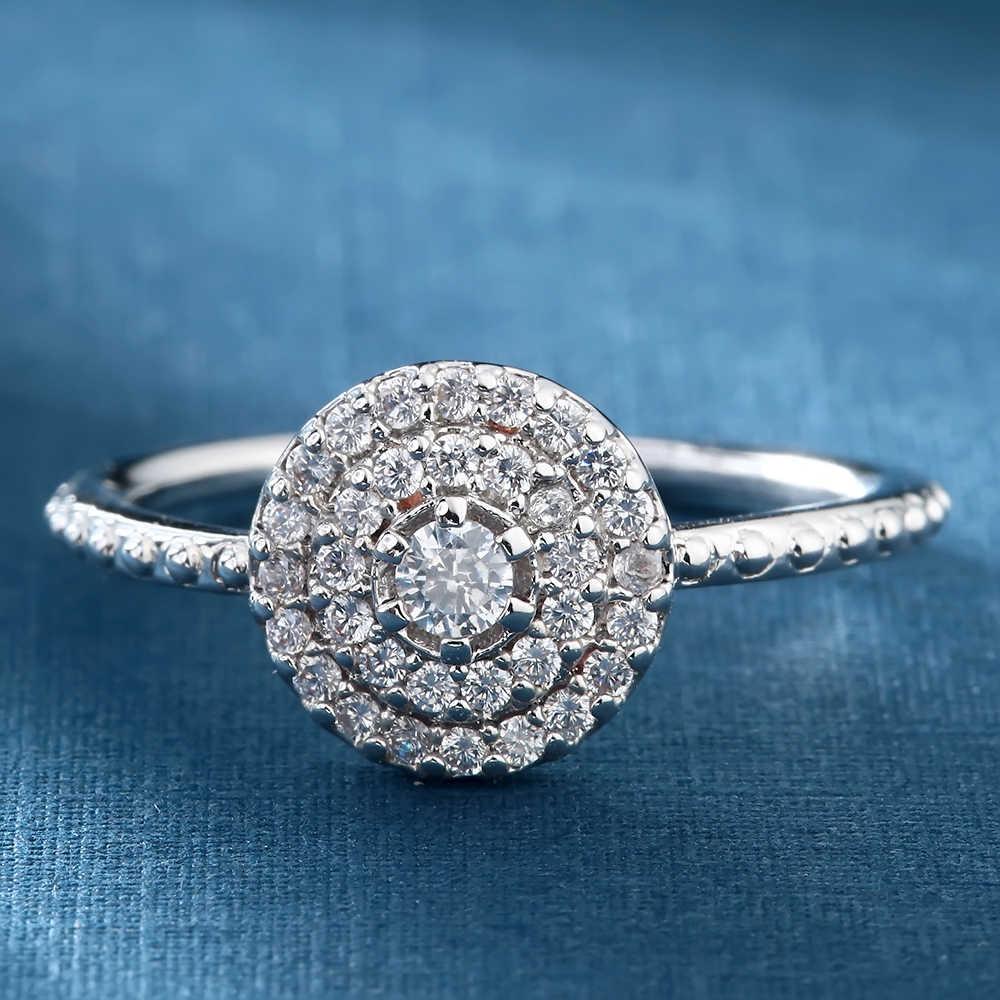 Seanlov เงินรอบรูปร่าง Radiant Elegance, ล้างดอกไม้ CZ แหวนสำหรับแหวนผู้หญิงเครื่องประดับ
