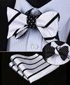 Be03l Black White Stripe 100% de seda de dupla face tecido Men borboleta auto gravata borboleta gravata borboleta bolso praça lenço Hanky conjunto terno