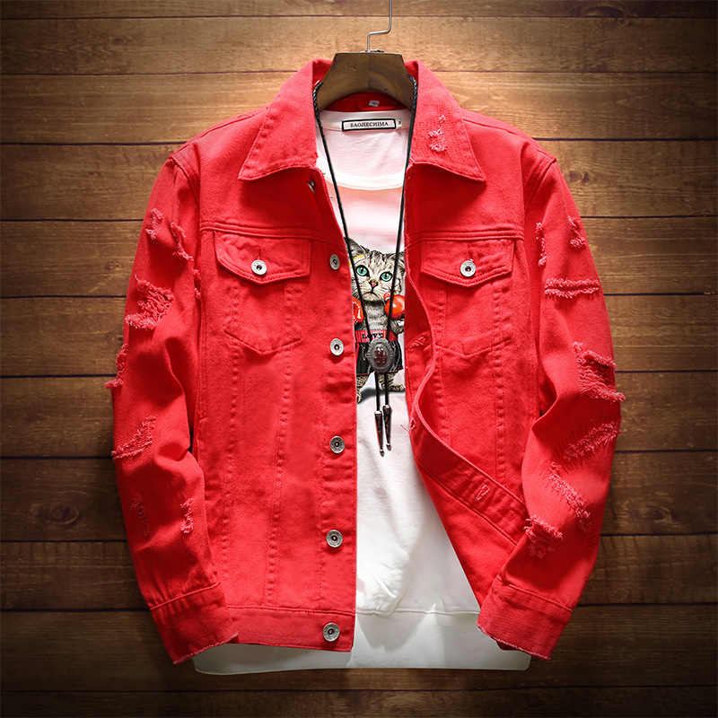 BZBFSKY メンズデニムジャケットトレンディなファッションヒップホップ Streetwer デニムジャケットメンズジーンズ男性のカウボーイコート 3XL