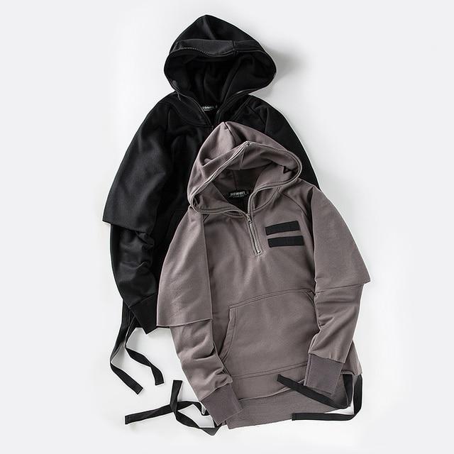 Side Ribbon Unlock Hem Streetwear Mens Hoodies 2017 Spring Autumn Fake 2pcs Blank Hip Hop Sweatshirt Men Dark Grey