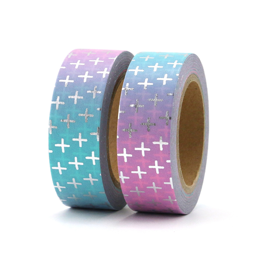 New 1PC silver latin cross Washi Tape Paper Decorative Adhesive Tape DIY Scrapbooking Stickers Label Masking Tape 1 5cm 10m in Office Adhesive Tape from Office School Supplies