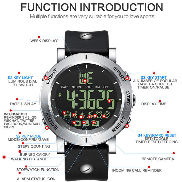 GIMTO Outdoor Sport Smart Watch Men Bluetooth Digital Stopwatch Waterproof  Clock Male Boy Military Watches Pedometer Smartwatch