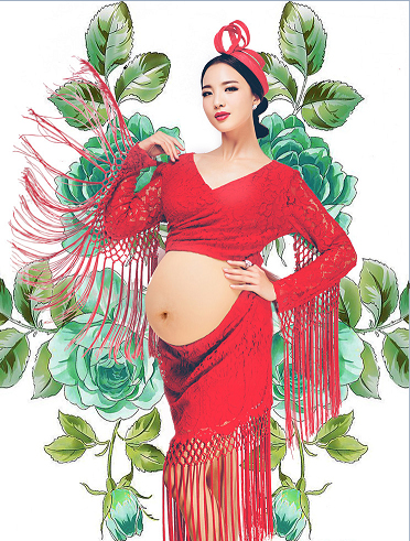 ФОТО 2016 new maternity pregnant women photography props  pregnancy pure red summer style deress romantic fashion clothing set