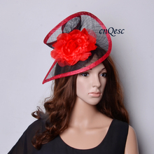 faf349cc46bc6 BLACK RED Sinamay fascinator hat in SPECIAL shape with silk flower for  Kentucky Derby
