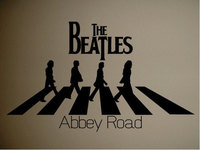 Wall Decor Decal Banksy Removable Vinyl Sticker The Beatles Abbey Road Cool Music Size 73 x 43CM