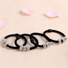 Hot Women Three Lovely Full Crystal Elastic Hair Bands Ropes Ponytail Holder Alloy Hair Bands Ornaments(China)