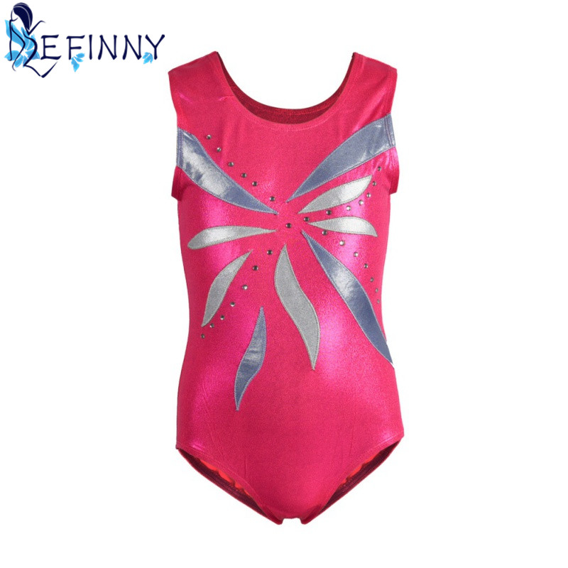 Best Selling 4-8 Y Toddler & Teens Girls Ballet Skate Gymnastics Leotard Unitards Gold Foiled Sleeveless Children Dancewear