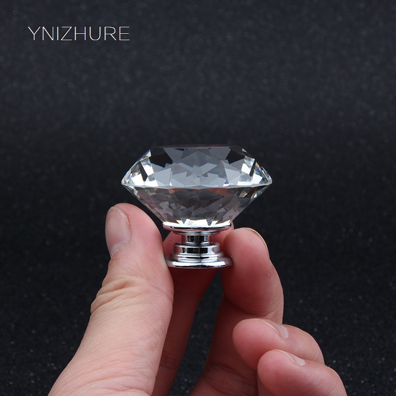 In Stock High Quality 40mm K9 Crystal Glass Handle Door Knobs for Kitchen Cabinet Drawer Wardrobe  Dresser Accessories YZ-1012 css clear crystal glass cabinet drawer door knobs handles 30mm