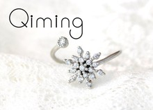 Cute Dainty Women's Snowflake Rings Delicate Rings Female Cz Crystal Zircon Rings Wedding Statement Jewelry Adjustable Ring(China)