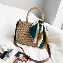 2019 new sen series travel holiday woven bag womens single shoulder cross body beach straw tote