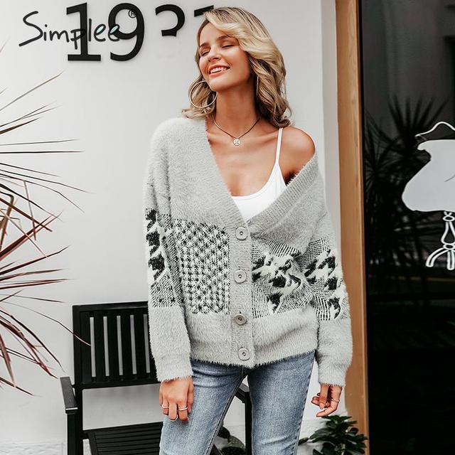 Simplee w stylu Vintage v neck kobiety sweter sweter na co dzień piersi geometryczne szwy znosić sweter jesień zima kobiet swetry rozpinane