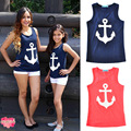 New 2017 Summer Style Family Matching Clothes Vest Letter Print Anchor Slim Cotton Casual Shirts Tops Bow T Shirts Family Look