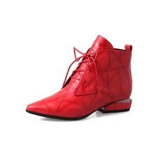 Bahar bayan botları yarım çizmeler rahat berathe serbestçe Hakiki deri sivri burun kare topuk 3 cm boyutu 34 39 siyah kırmızı