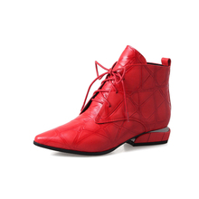 Spring women boots ankle boots comfortable berathe freely Grnuine lather pointed toe square heel 3cm size 34 39 black red