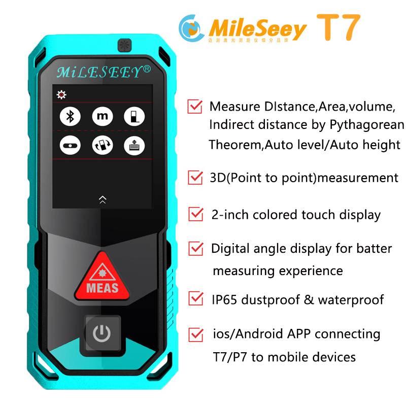 New Mileseey T7 40M 60M 100M Bluetooth Laser Rangefinder with Rotary Touch Screen Rechargerable Laser Meter цены