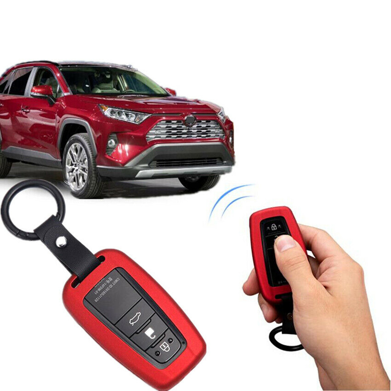 Car & Truck Exterior Mouldings & Trim Black Aluminum Smart Key Case Cover Car Key Holder For 2019 Toyota RAV4
