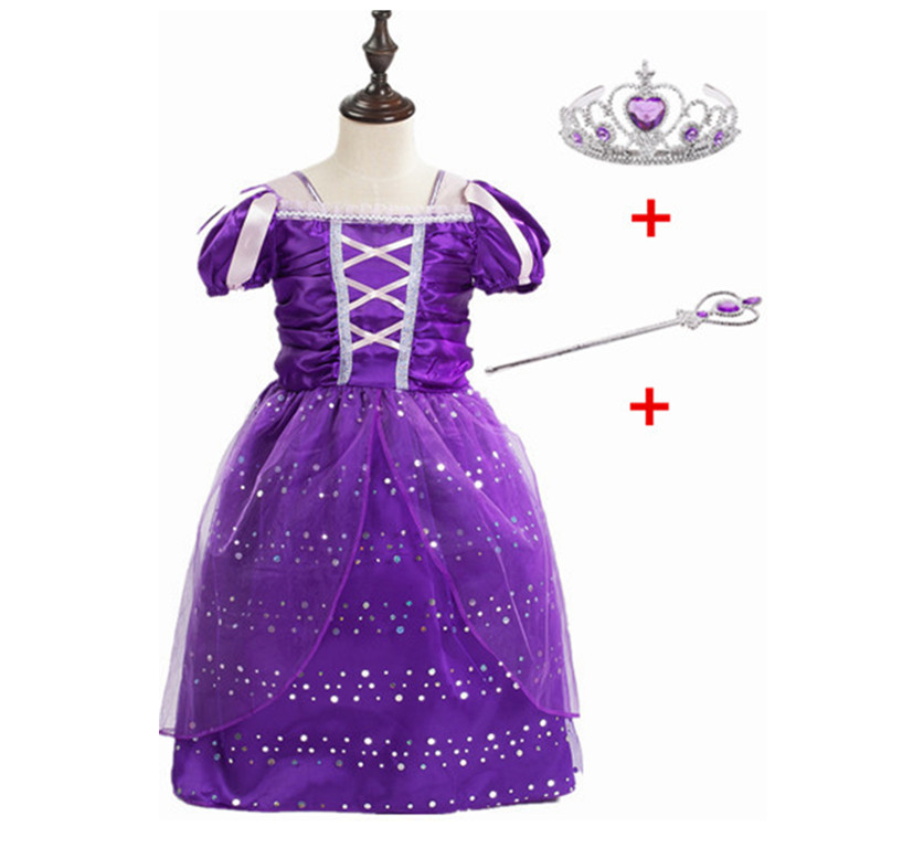 2018!Fancy Girls Rapunzel Princess Dress Kids Sofia Party Girl Dress Baby Summer Children Costume Dress Purple Dress with Crown