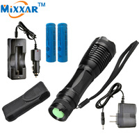 RUzk10 XM-L T6 LED flashlight  8000LM E17 Zoomable LED Flashlight Torch Lamp For 3XAAA or 18650 Battery+Charger+Holster