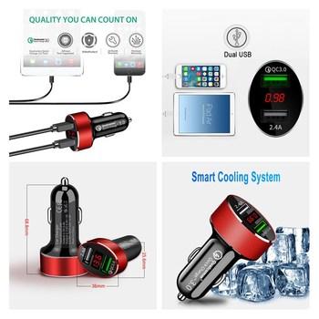 1 Uds adaptador de carga rápida de coche QC 3,0 Dual USB 2 puertos con voltímetro LED inteligente para IPhone Android