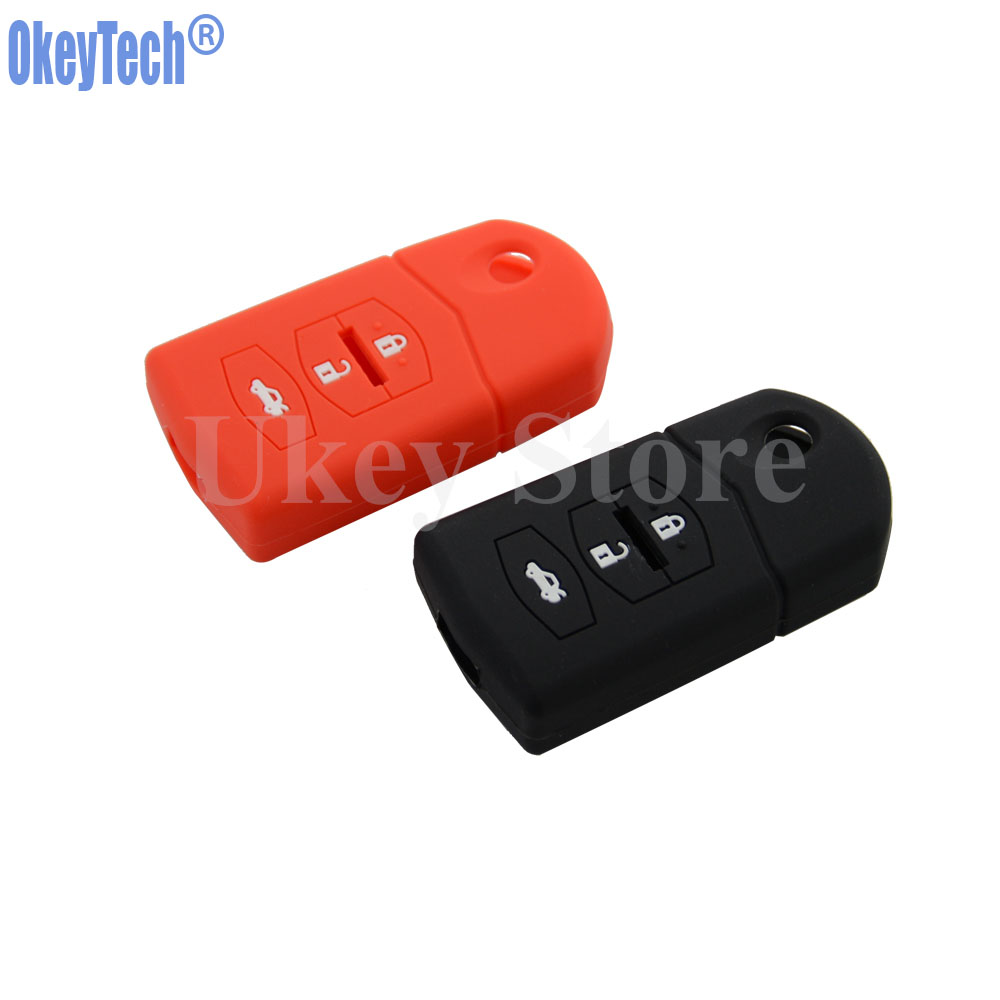OkeyTech Silicone Car Key Cover for Mazda 2 3 5 6 RX8 MX5 Flip Remote Case Replacement Fob Protect Holder Car Styling Auto Parts