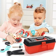 Montessori Children's nut combination disassembly toolbox screw screw disassembly assembly baby hands-on wooden educational toys цены онлайн