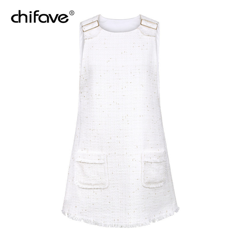 Women White Tweed Casual Tank Dress Sweet Sleeveless Pockets ...