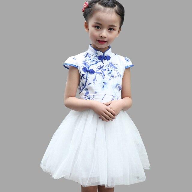 f8ab3523da03e3f Летнее платье для девочек, платье Ципао для девочек-подростков, праздничный  сарафан в китайском