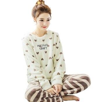 4c8ae20bd5 2 unidades lindo conjunto de Pijama de manga larga Pijamas Pijama traje de  casa las mujeres camisetas de ropa interior de franela de invierno cálido  Animal ...