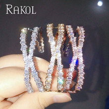 RAKOL Fashion AAA Cubic Zirconia Man Women Baguette Bracelet Bangle Cuff Copper Base With Gold-Color Thick bangle Jewelry RS1138