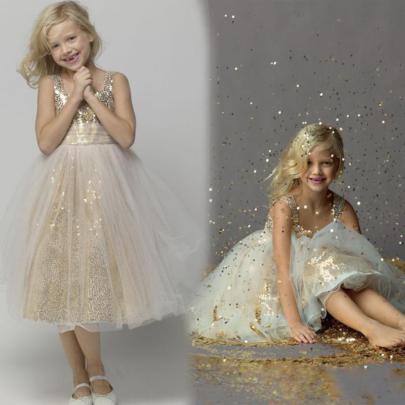 Gold Sequins Sparkle Cute Flower girl dresses A line Tea length Custom made Little  girls Pageant dress Cheap Kids Children gowns bdfcb93334de