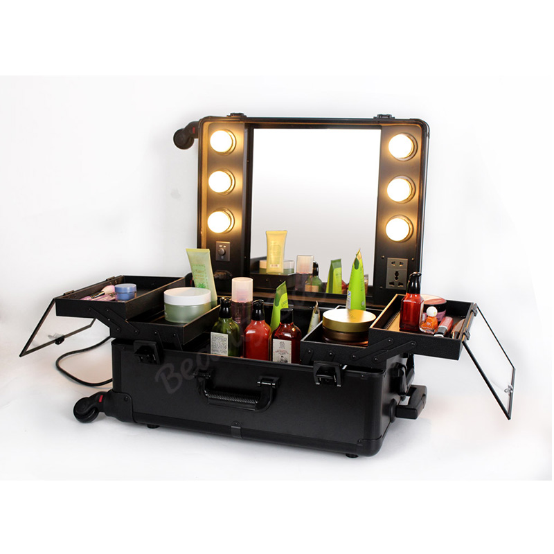 fashionable aluminum makeup studio with lights mirror trolley