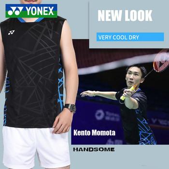 Nowość Yonex Yy Badminton Wear kamizelka bez rękawów koszulka sportowa Fitness odzież sportowa do biegania Jersey tanie i dobre opinie