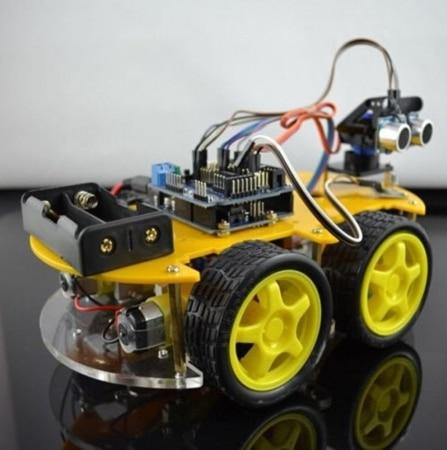 DIY Robot Car Kit 4WD Smart Car Learning Starter Set Multi-function Bluetooth Car for Mini Car Robotic Spare Parts starter learning high quality sensor module kit set for arduino mega2560 leonardo