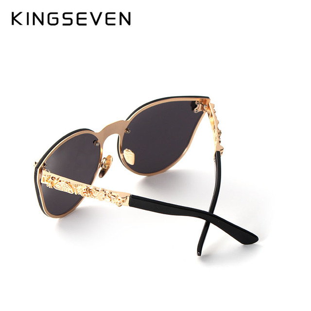 KINGSEVEN Luxury Brand Fashion Women Gothic Mirror Eyewear Skull Frame Metal Temple Oculos de sol UV400 With Accessories