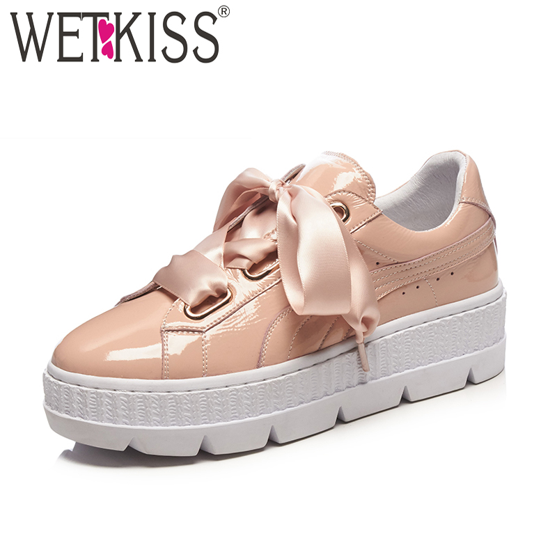 WETKISS 2018 New Fashion Casual Women Sneakers Shoes Satin Strap Platform Female Shoes Genuine Leather Round Toe Women Flats 2016 new fashion women flats women genuine leather flat shoes female round toe casual work shoes women shoes