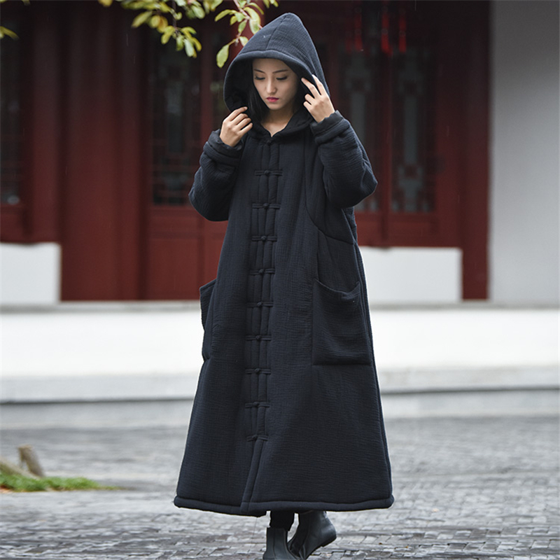 Women's winter thicken warm windproof hooded botton robe coat   parkas   retro witch ankle length long wadded jackets gown