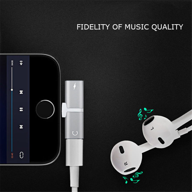 2 in 1 Charger Earphone Adapter plug for iPhone 8 7 Plus X charger headphone Converter to 3.5mm dual earphone splitter adapter