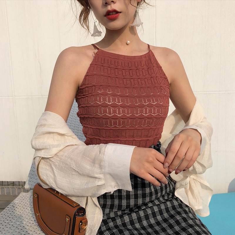 Women Sleeveless O-Neck Pullover Hollow Out Knitted Tank Top 6