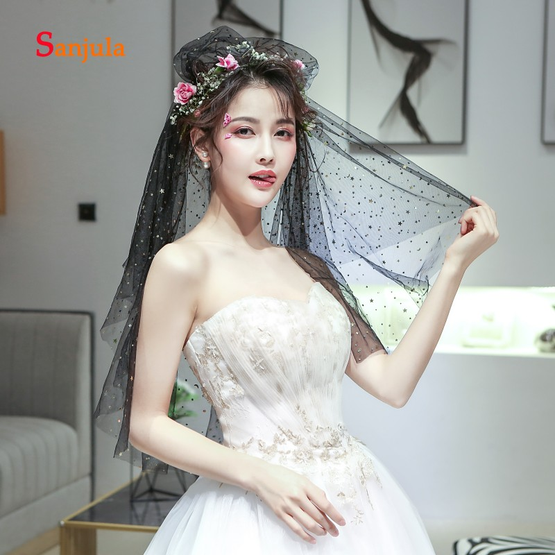 Black Tulle Bridal Wedding Veils Cut Edge One Layer Colorful Glitter Stars Wedding Accessories 1.5 Meters accessoir mariage,Black,150cm