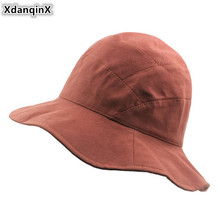 XdanqinX Adult Womens Cotton Bucket Hats Elegant Fresh Lady Sunscreen Hat Foldable Lotus Leaf Lace Casual Summer Caps For Women