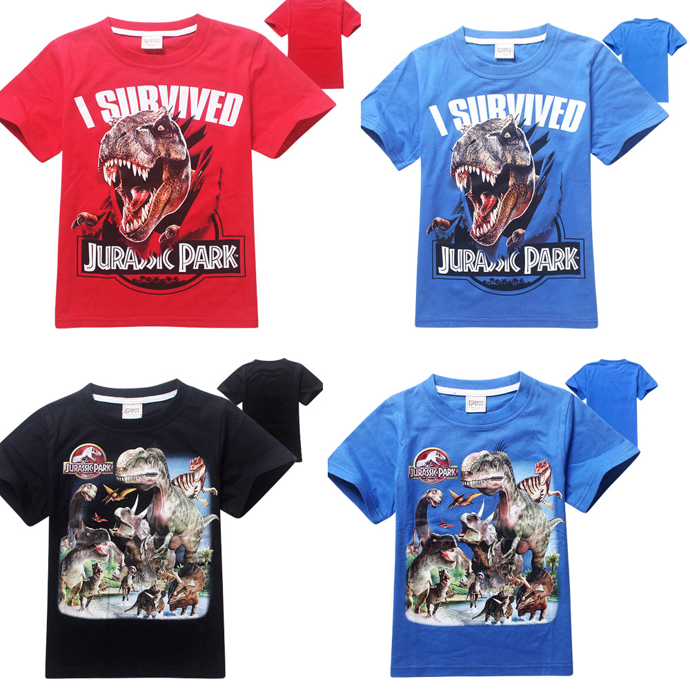 a704b7f7 New Jurassic World Boys T Shirt Kid Short Sleeve Jurassic Park T-shirt  Children Summer Clothing Dinosaur Tees 4-14 Years Red