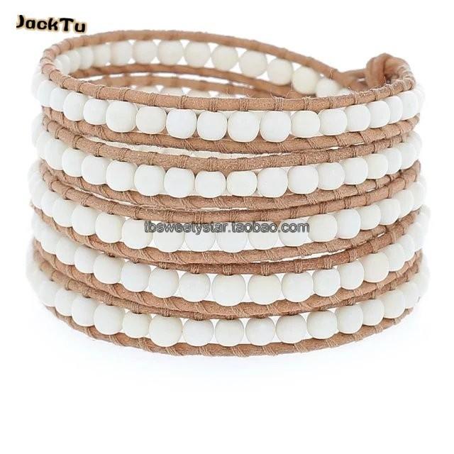 4mm natural howlite stone bracelet on beige leather