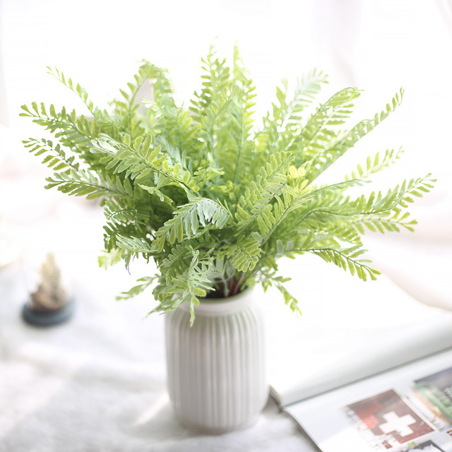 Artificial Plants Plastic Pteris Branches Leaves For Home Decor ...