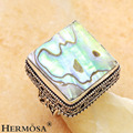 925 Sterling Silver Cameos Marvelous Squre Multicolor Abalone Shell Vintage Women Ring Sz.9.5 GM1997 FREE SHIPPING