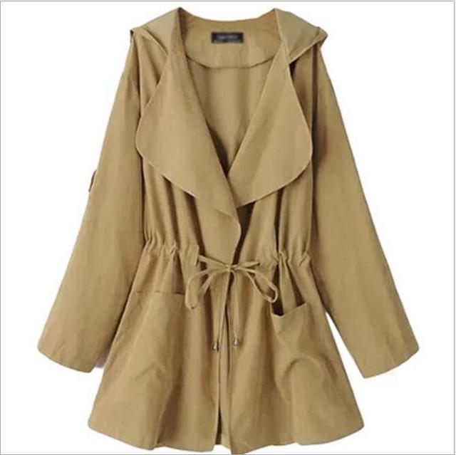 2016 Otoño invierno moda Ocio occident cintura ajustable más el tamaño M-3XL de la vendimia v-cuello de la manga completa de Las Mujeres Trench Coat 3H3