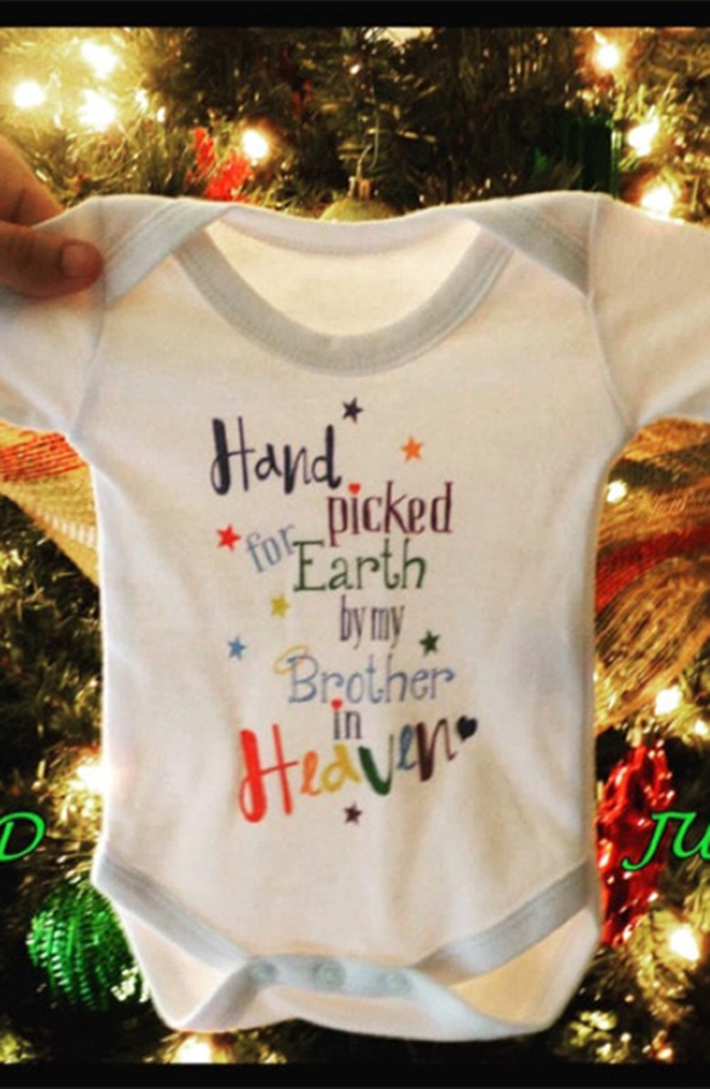 Funny 2018 Baby Handpicked Earth By My Brother Letter White Short Sleeves Baby Unisex Bo ...