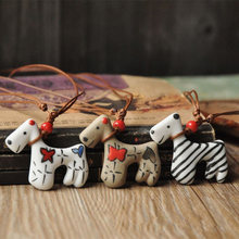 Cut Cartoon Ceramics Pendent Necklace For Women Horse Charm Statement Choker Fashion Accessories Jewelry Braided Rope Chain(China)