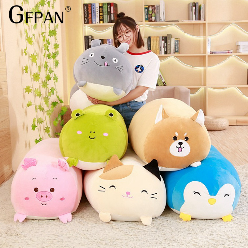 60CM New Style Big Collection Of Stuffed Animals Totoro&cat&penguin&frog&dog&pig Plush Toys Kawaii Cushion Kids Gifts Baby Toy