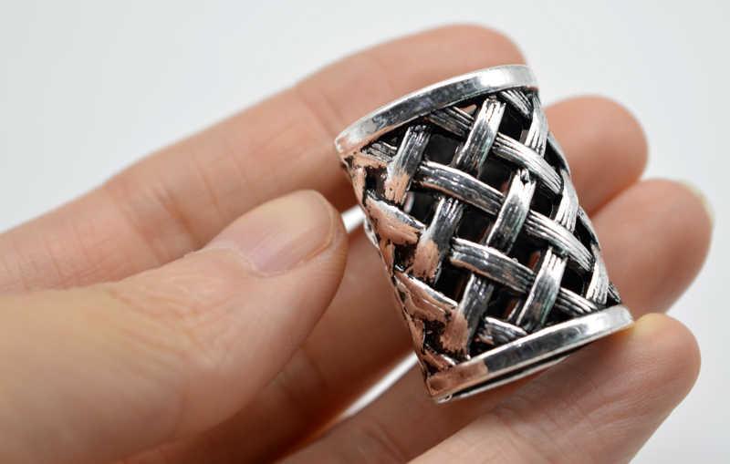 1 قطعة أثرية فضية الفايكينغ عقدة الفايكنج كبير الخرز ل أساور الخرز قلادة قلادة لل اللحى للشعر c33