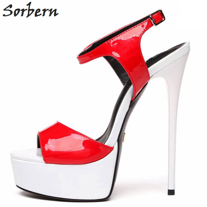 081c0c7fa4567 Sorbern 2018 Women Plus Size Shoes Sexy Sandals High Heel Platforms Open  Toe Pointed Party Shoes For Woman